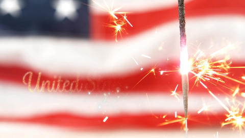 United States of America text and an American flag behind sparkles for fourth of July Animation