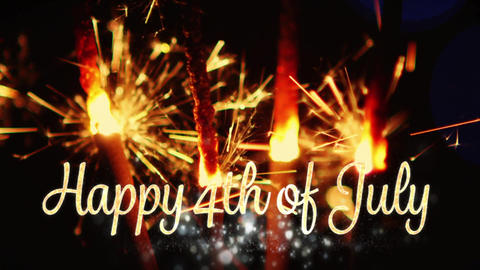 Happy 4th of July text and sparkles Animation