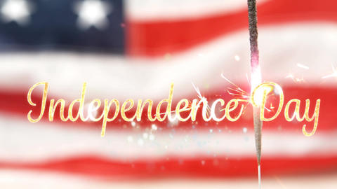 Independence day text and a flag behind a sparkle for fourth of July Animation