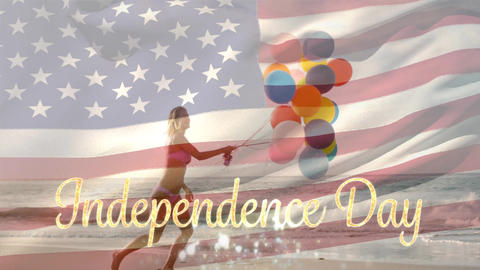 Woman holding balloons at beach and American flag with Independence Day Animation