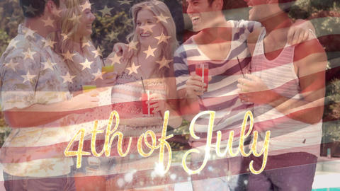 Group of friends by the pool and an American flag with a 4th of July text Animation
