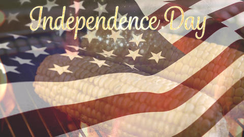 Corns being grilled and the American flag with an Independence Day text Animation