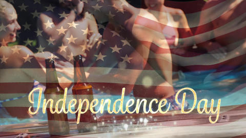 Friends in a pool and the American flag with an Independence Day text for fourth of July Animation