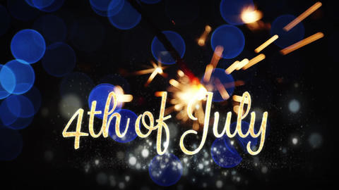 4th of July text and a sparkle Animation