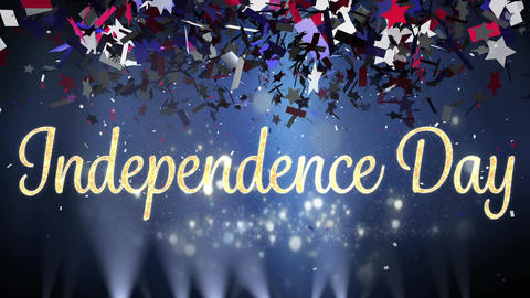 Independence day text and confetti Animation