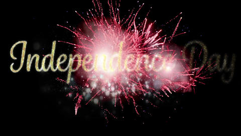 Independence day text and red fireworks 4k Animation