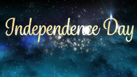 Independence day text and galaxy Animation