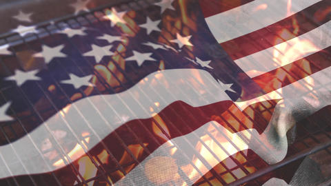 Barbecue and the American flag for fourth of July Animation