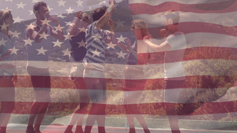 Group of friends dancing and the American flag for fourth of July Animation
