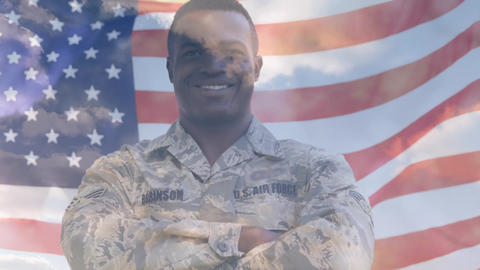 Military man with American flag and the sky Animation
