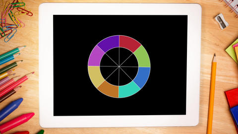 Circle with colours displayed on tablet Animation