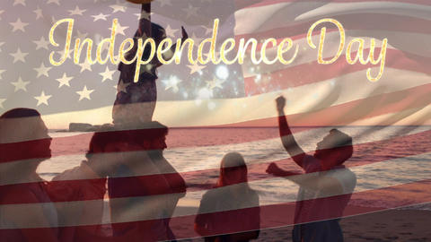 Group of friends at the beach and the American flag with an Independence Day text Animation