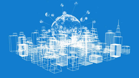 Modern city and global network graphic Animation