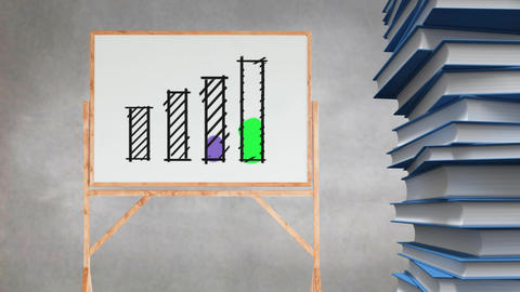 Bar graph drawing on blank canvas beside stack of books Animation