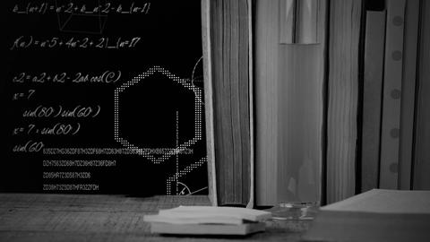 Hexagons, data and books on black Animation