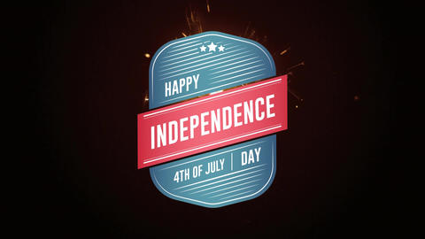 Happy Independence Day, 4th of July text in badge and sparkle Animation