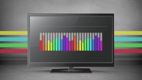 Rainbow coloured bar chart on a flatscreen Animation