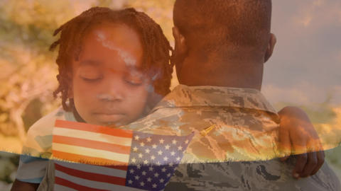 Military man in uniform carrying a child holding an American flag Animation