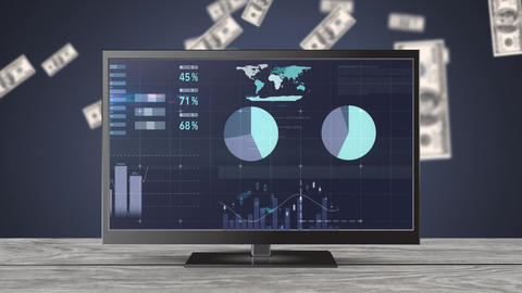 Graphs and statistics on a television screen Animation