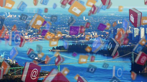 Colourful cubes floating with cityscape in the background Animation