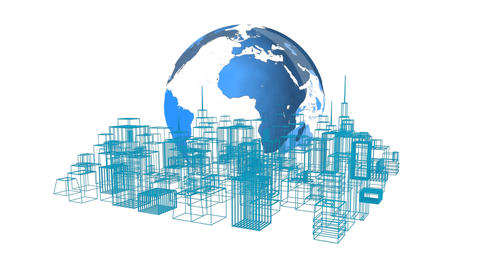 Digital model of a city with a globe Animation