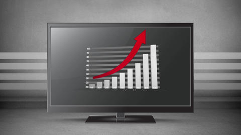 Growing grey bar chart and red arrow displayed on flatscreen Animation