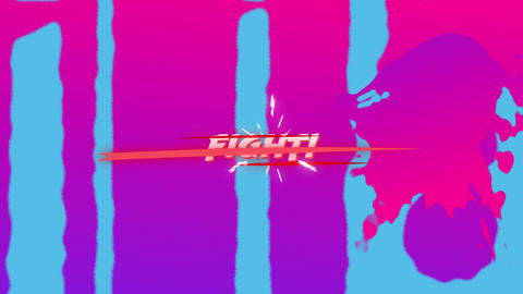 Animation of fight text on a paint splattered background Animation