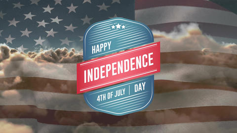 Happy Independence Day, 4th of July text in badge and a flag Animation