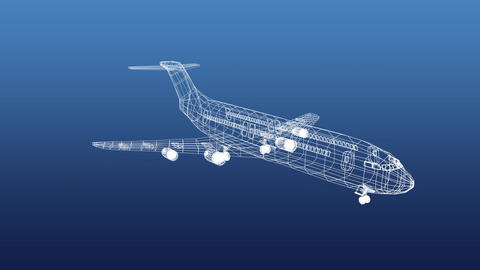 Revolving technical drawing of plane on a blue background Animation