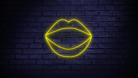 Neon sign showing lips blowing kisses Animation