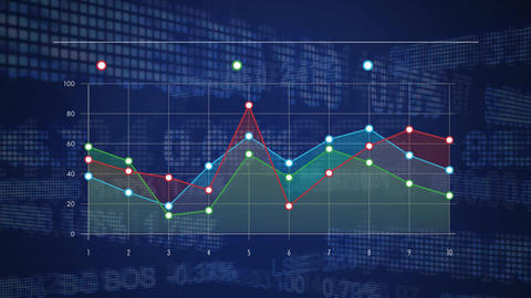 Colourful graph over scrolling share index data Animation