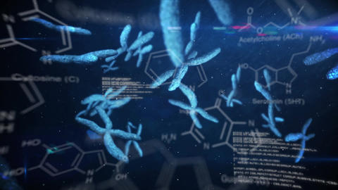 Chromasomes floating on a dark background with text and data Animation