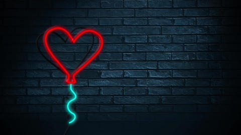 Led light heart sign on a brick wall Animation