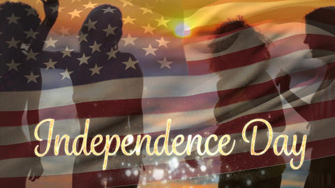 Friends dancing at the beach and American flag with Independence Day text Animation