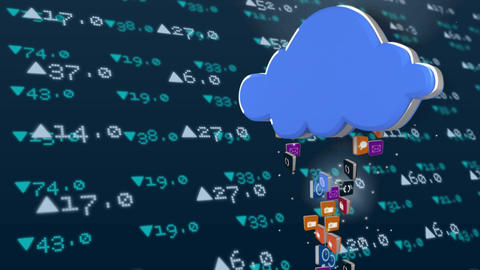 Icons rising into a blue cloud while data rises and falls in the background Animation