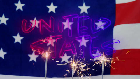 United States text and the American flag with sparkles on cupcakes Animation
