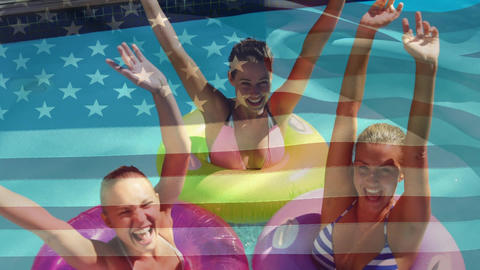 Women in the pool and an American flag for fourth of July Animation
