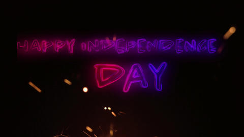 Happy Independence Day text and a sparkle for fourth of July Animation