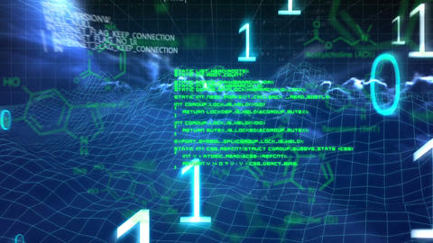 Glowing green data and blue binary numbers falling on a moving background with clouds Animation