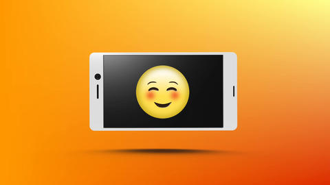 Smart phone with a smiling emoji on its screen Animation