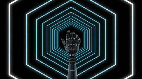 Robot hand on a hexagon tunnel Animation
