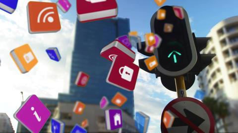 Internet symbols falling on a city background Animation