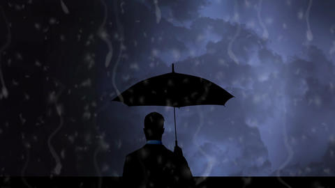 Silhouette of a man watching a stormy sky Animation