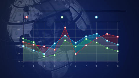 Graph on a dark blue background with rotating dollar globe Animation