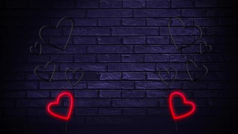 Led light hearts on a brick wall Animation