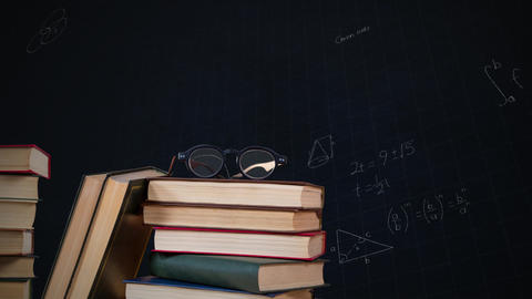 Eyeglass on a pile of books and mathematical equations with figures Animation