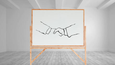 Drawing of a handshake on a blank canvas Animation