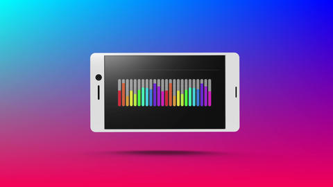 Rainbow coloured bar chart displayed on smartphone Animation