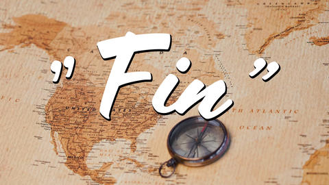 Fin text and a map with compass Animation
