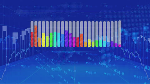 Colourful bar chart on blue background with moving charts and data Animation